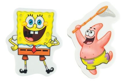 Staples Spongebob Squarepants Set of 2 Erasers ~ Smiley Spongebob, Patrick with Net - 1