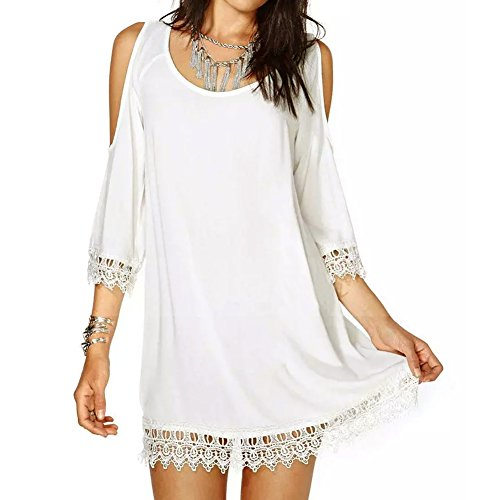 LookbookStore Fashion Wild Boho White Strapless Lace-trim Women's Dress