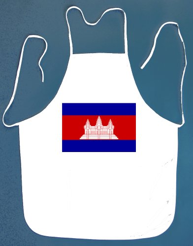 Cambodia Cambodian BBQ Barbeque Apron with 2 Pockets White (Cambodian Bbq compare prices)