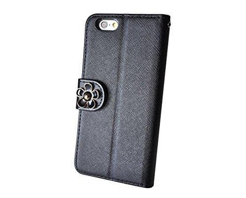 HighSociety - iPhone 手帳型 ケース - 大人お洒落なワンポイント - シンプル 機能美 カード収納 スタンド機能 ストラップホール 良質なPUレザー (iPhone6 4.7 インチ, ブラック x デイジー)