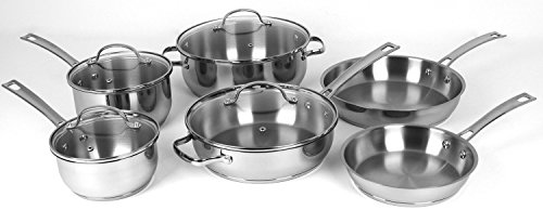 Oneida 10pc Stainless Steel Induction Ready Dishwasher Safe Cookware Set (Induction Heating Cookware compare prices)