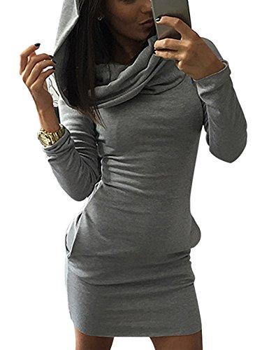 Minetom Donna Autunno Casual Maniche Lunghe Tasca Slim Felpa con cappuccio Pullover Giacca Outwear Grigio IT 44