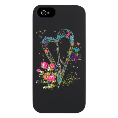 Great Sale iPhone 5 or 5S Case Black Flowered Butterfly Heart Peace Symbol Sign