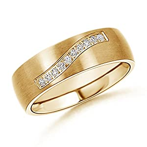 Satin Finish Diamond Men's Wedding Band in 14K Yellow Gold