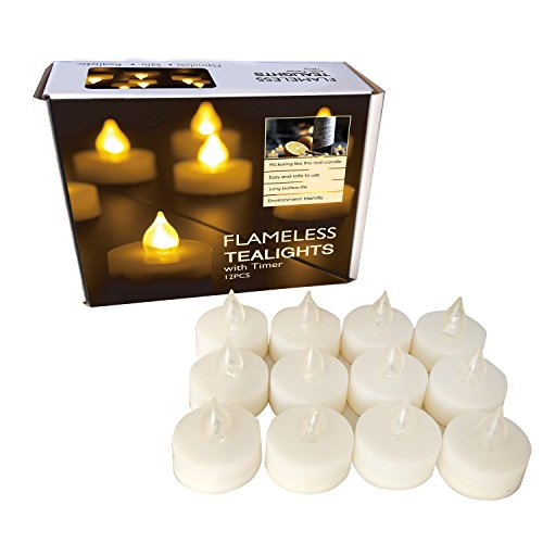 Candle Choice Set of 12 Premium Flameless Tealights with Timer, Battery-operated Candles, Long Battery Life 200+ Hours, Battery Included, Bright LED (Battery Votive Candles Timer compare prices)