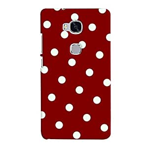 ColourCrust Huawei Honor 5X / Dual Sim Mobile Phone Back Cover With Red And White Polka Dots Pattern Style - Durable Matte Finish Hard Plastic Slim Case