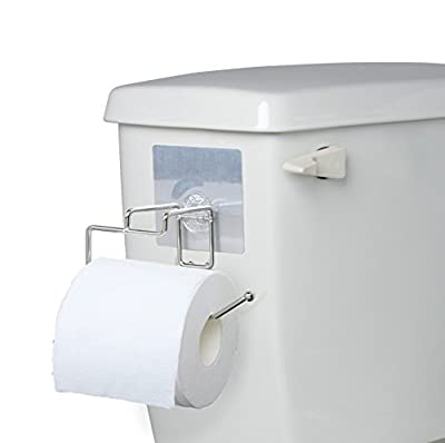 Side-of-Tank Toilet Paper Holder - Compact Non-permanent Sticker Stainless Steel Bath Tissue Dispenser - Self Stick For Easy Smooth Non-Porous Surface Installation - Great for Smaller Bathrooms in RV