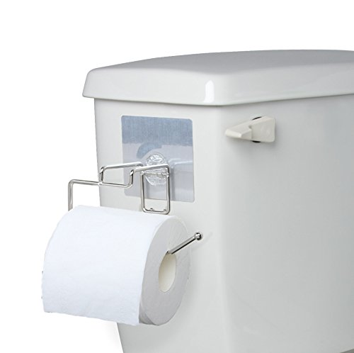 Side-of-Tank Toilet Paper Holder - Compact Non-permanent Sticker Stainless Steel Bath Tissue Dispenser - Self Stick For Easy Smooth Non-Porous