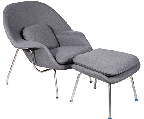 Mlf Eero Saarinen Womb Chair & Ottoman (8 Colors). Premium Cashmere Wool & High Density Foam Cover On Fiberglass. Feature High Polished Stainless Steel. All Hand Sewn/Stitched. Mid-Century Scandinavian Organic Modernism Style. Curl Up & Relax In Comfort.