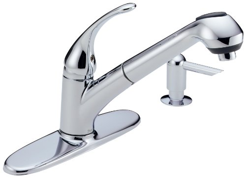 Delta Foundations B4310LF-SD Single Handle Pull-Out Kitchen Faucet with Soap Dispenser, Chrome