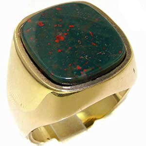 Luxury 9ct Yellow Gold Mens Large Cushion Cut Bloodstone Signet Ring - Size Y 1/2 - Finger Sizes Q to Z Available