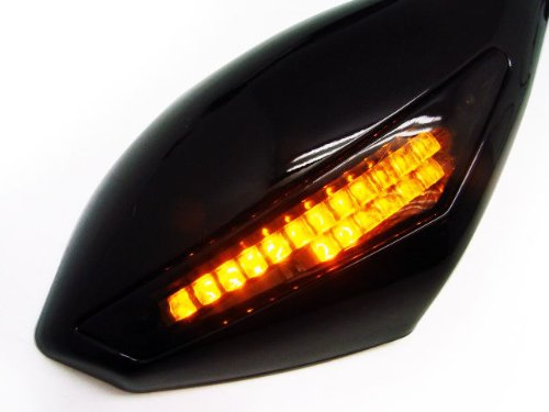 Smoke LED Integrated Mirrors for Yamaha Fzr600 YZF 600 R6 R6s R1 Suzuki Gsxr 600/750 01-05 Kawasaki Ninja 500 Zx6 Zx6r Zx7 Zx9 Zx636 Ex Honda CBR 600 F4i 929 954 Rr F1 F2 Hurricane