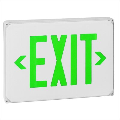 Royal Pacific RXL23WG-E Wet Location Exit Sign, White with Green Letters