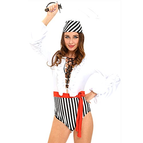 Slocyclub Women's Pirates Uniforms Halloween Fancy Jumpsuit Costume (Mad Hatter Coustume)