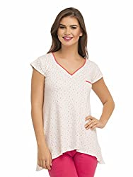 Clovia V-Neck Top With Short Sleeves - White