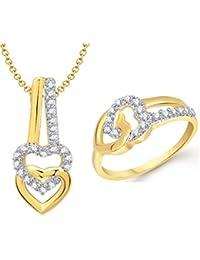 VK Jewels Art Of Love Heart Combo Ring & Pendant- COMBO1292G [VKCOMBO1292G]