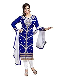 Dark Blue colour embroidered chanderi fabric semi stich churidar dress material