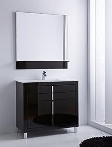 Roma 40 Inch Wide Bathroom Vanity Cabinet Set Black High Gloss Single Sink White