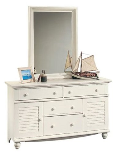 Harbor View Dresser With Mirror In Antiqued White By Sauder front-65417