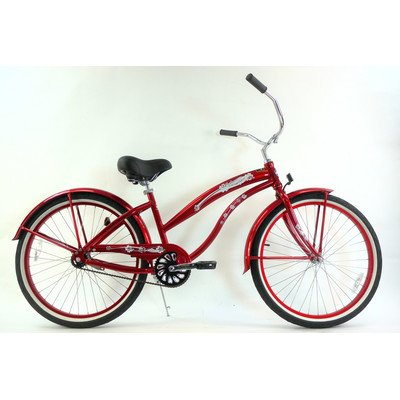 Women's Single Speed Aluminum Beach Cruiser Frame Color: Red