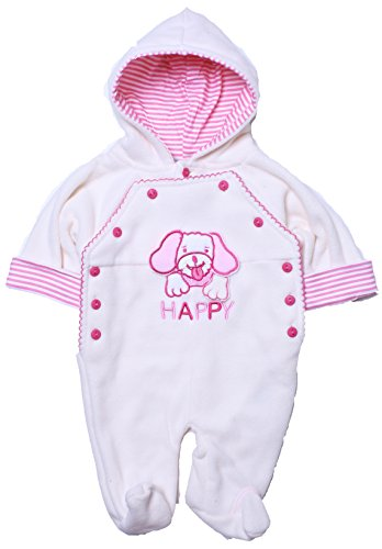 Coney Island - Baby Girl Warm Fleece Animal Footed Coverall-Cream0/3 back-1022032