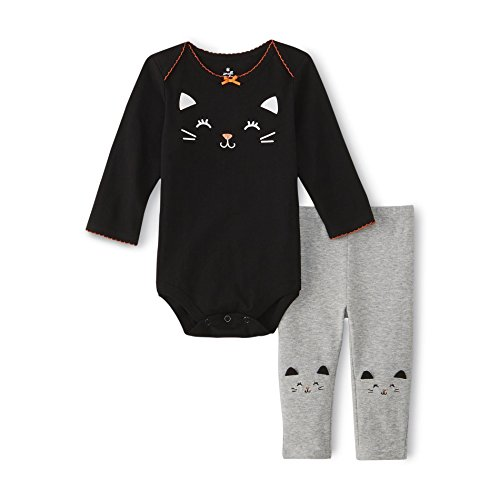 Small Wonders Baby Girl's Black Cat Bodysuit and Knit Pants Set (3-6 months) (Small Wonders Baby Clothes compare prices)
