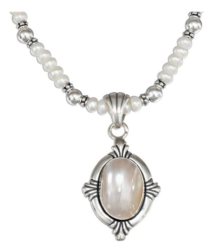 Sterling Silver 18 inch Pearl Necklace with Oval Mabe Pearl Pendant.