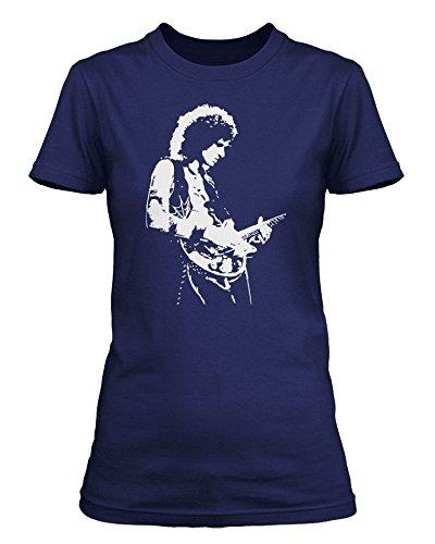 Brian May dei Queen-Maglietta a maniche corte, da donna blu Large