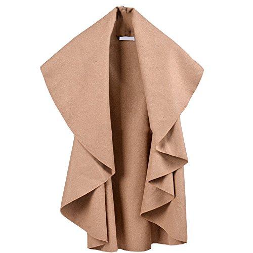 MUXXN Lady Noble Elegant Wool Cape Poncho Coat (One Size, Beige)