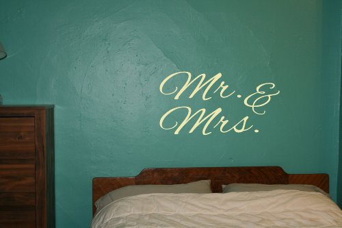 Wall Decor Plus More Mr. & Mrs. Wall Art For Family Room Or Master Bedroom Wall Sticker Decal 36W X 19H - Beige Beige front-205599