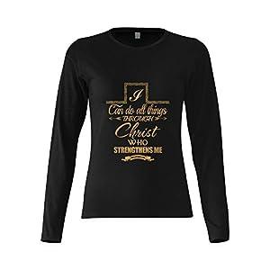 I Can Do All Things Philippians 4:13 Bible Verse Women's Cotton Long Sleeve Tee T-shirt