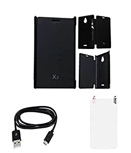 Discounts Bazar Flip Cover For Nokia X2 WITH SCREEN GUARD & DATA CABLE - Black