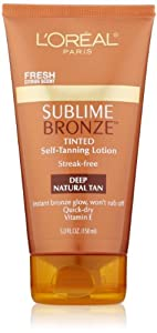 L'Oreal Paris Sublime Bronze Tinted Self-Tanning Lotion, Deep Natural Tan, 5.0 Ounce