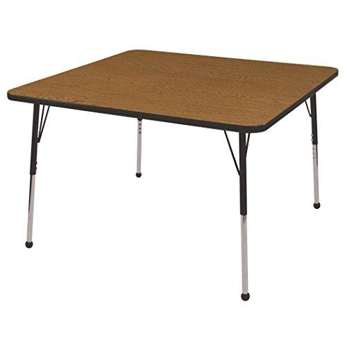 Ecr4kids 48 square activity table standard legs w ball glides oak top black edge general - Table glides for legs ...