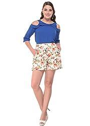 Botanical Print High Waist Shorts