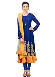 SK Clothing Blue & Yellow Color Gerogette & Net Embroidered Semi_Stiched Dress For Women