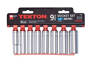 TEKTON 1230 3/8-Inch Drive Deepwell Socket Set, Metric, 9-Piece from TEKTON