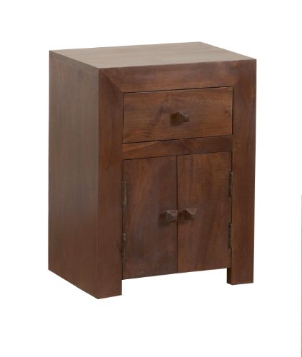 Homescapes - Dakota - Bed Side Cabinet - Dark - 100% Solid Mango Hard Wood - ( No Veneer ) Hand Crafted Furniture