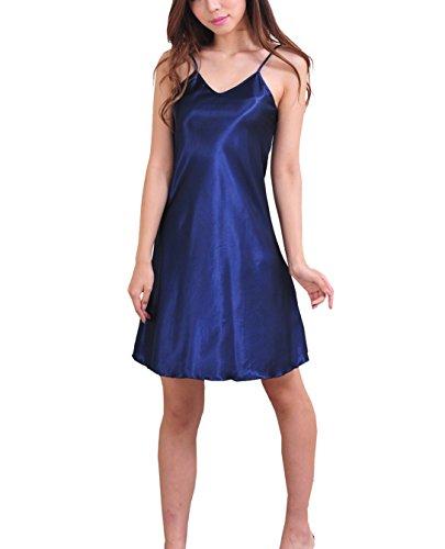 SexyTown Women's Satin Camisole Nightgown Classic Chemise Slip Sleepwear (Medium, Dark Blue) (Extra Long Nightshirts compare prices)
