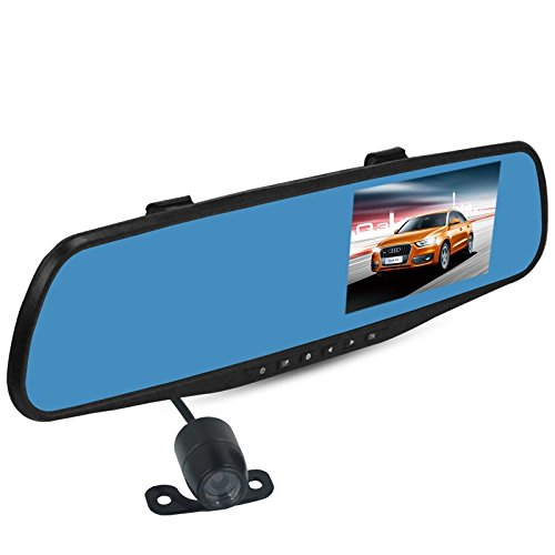 "Dual Lens Car Camera, 4.3"" LCD 140°1080P Dual Lens Car Rear View Car Camera, Car BlackBox for Vehicles Front and Rear Dvr, Support G-Sensor Automatic Loop-Cycle Recording Night Vision"