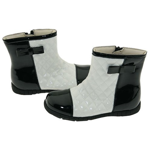 Girls Cream Black Quilted Patent Fashion Boots Toddler Little Girl 5-2