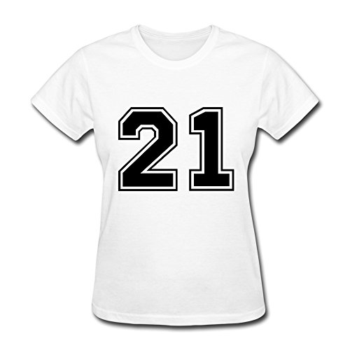100% Cotton Couples Number 21 T-Shirt For Women'S - Round Neck front-482746