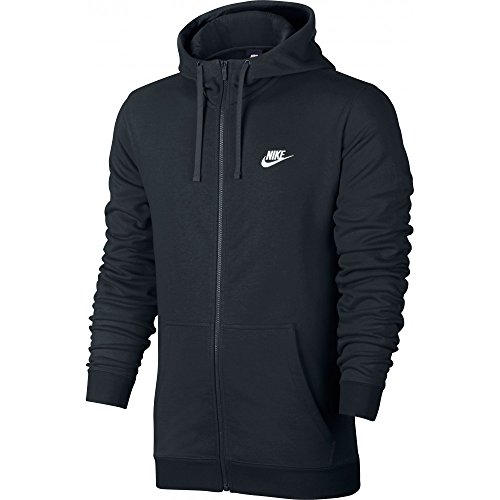 Nike M Nsw Fz Ft Club Felpa con Cappuccio, Nero/Bianco, L