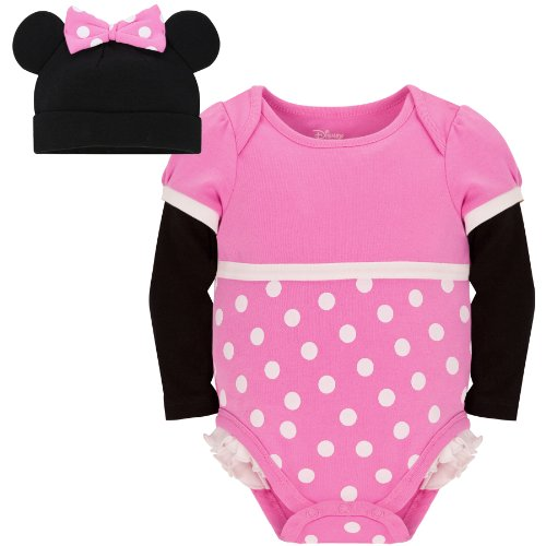 Disney Store Pink Minnie Mouse Onesie Costume Bodysuit and Hat Size 6-12 Months