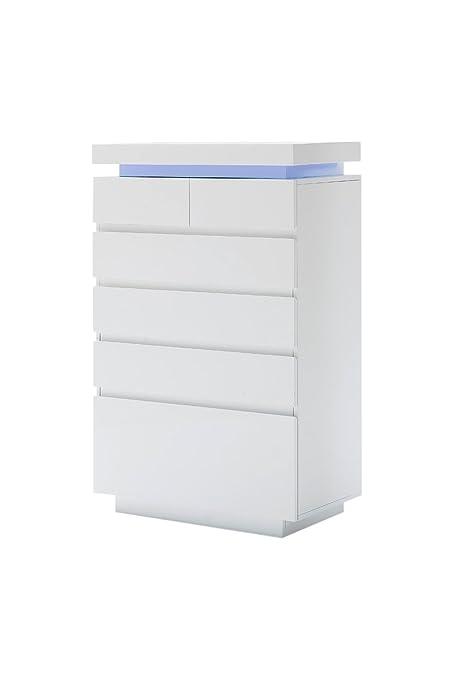 Robas Lund 48987WW1 Kommode Ocean, 3 Schubkästen, LED Beleuchtung mit Farbwechsel, circa 73 x 40 x 114 cm, hochglanz weiß