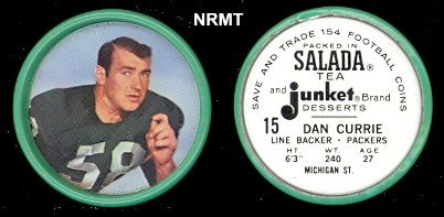 1962 Salada Tea Coins (Football) Card# 15 Dan Currie Of The Green Bay Packers Nrmt Condition