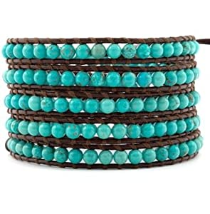 Chan Luu Turquoise Wrap Bracelet on Brown Leather