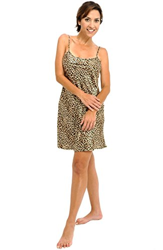 Del Rossa Women's Satin Nightgown, Long Camisole Chemise, Large Tan Leopard (A0766P04LG)