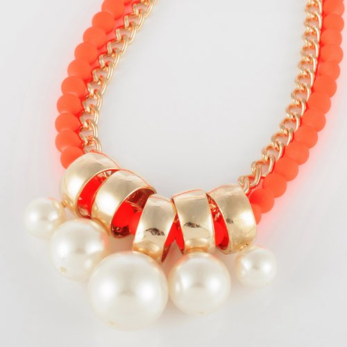 Fashion Golden Chain Jewelry Orange Resin Pearl Bib Pendant Statement Necklace