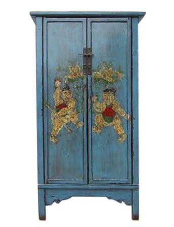 China Slim Design zweiflueglig Painted Drawer Cabinet Light Blue